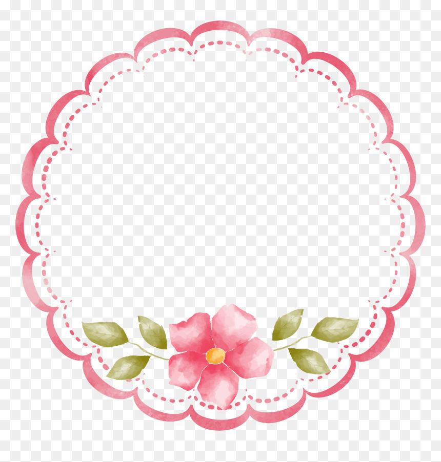 Pink Floral Circle Border, HD Png Download