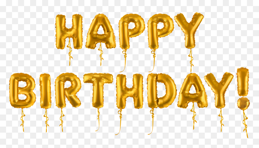 Transparent Gold Happy Birthday Balloons, HD Png Download