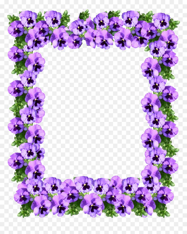 Purple Floral Border Design, HD Png Download