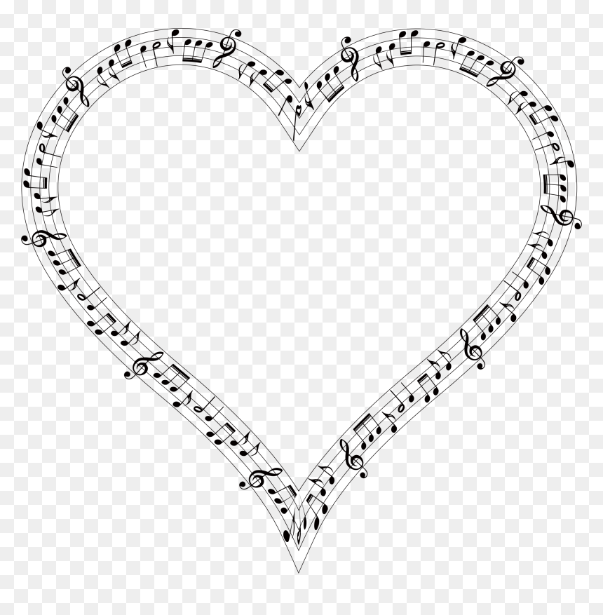 Transparent Background Heart With Music Notes, HD Png Download