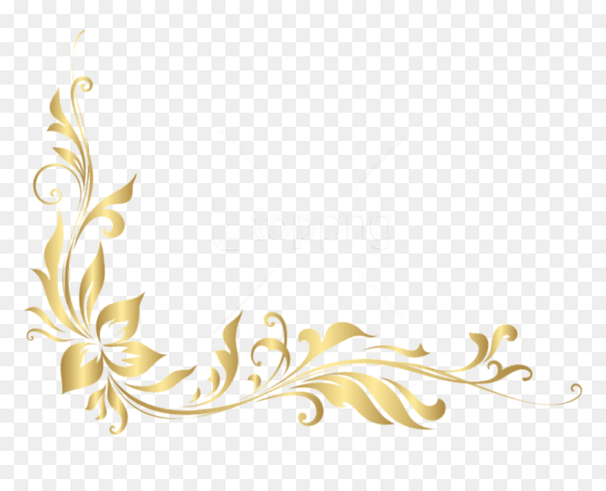 Download Golden Floral Decoration - Gold Flower Border Png, Transparent Png