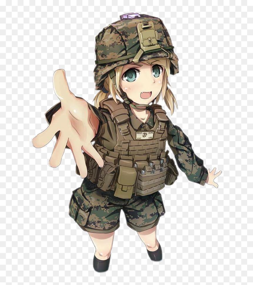 gun #animegirl #marines #soldier #army #freetoedit - Soldier Anime