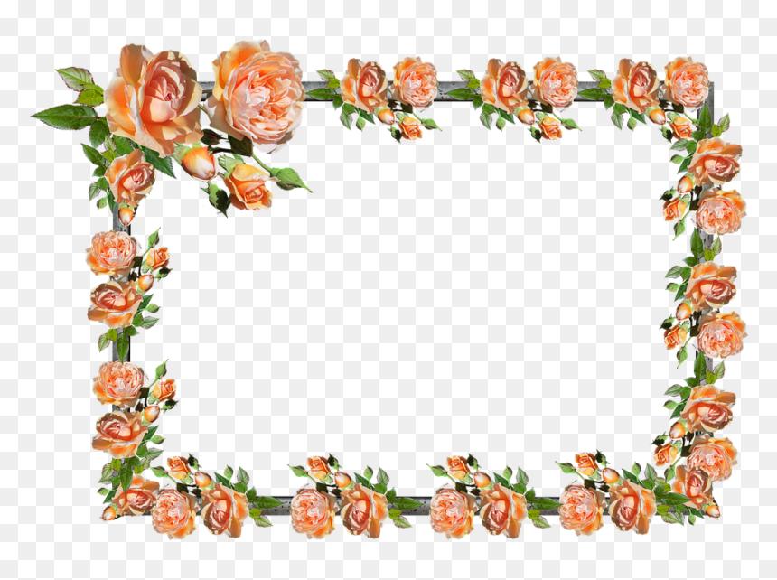 Frame, Border, Rose, Floral, Decoration - Frames Borders Flowers Rose Clipart, HD Png Download