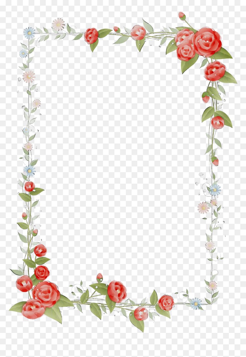 Hearts And Flowers Border Clipart - Background Design In Microsoft Word, HD Png Download