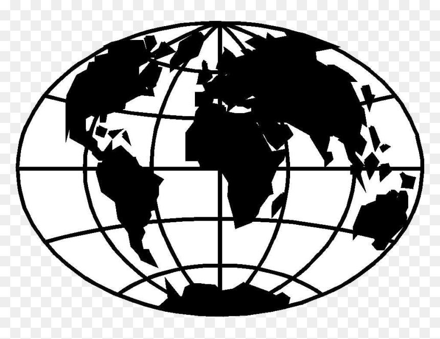 Globe Black And White World Clipart Clipartfox Transparent - Black And White World Globe Clipart, HD Png Download