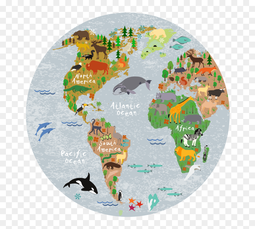 "World Map Round Placemat ""  Class= - World Map Cartoon Png, Transparent Png"