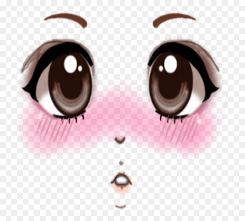 Roblox Face Png - Blushing Anime Eyes Png, Transparent Png