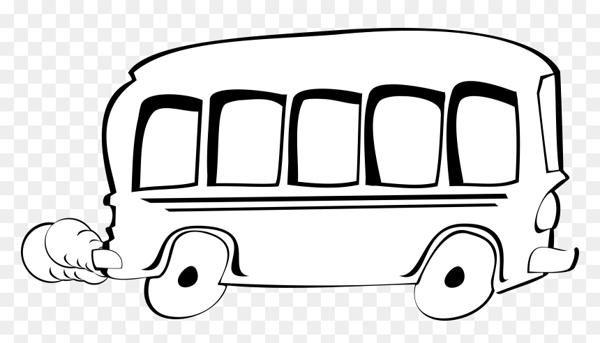 Transparent City Clipart Black And White Png - Bus Cartoon Png Black And White, Png Download