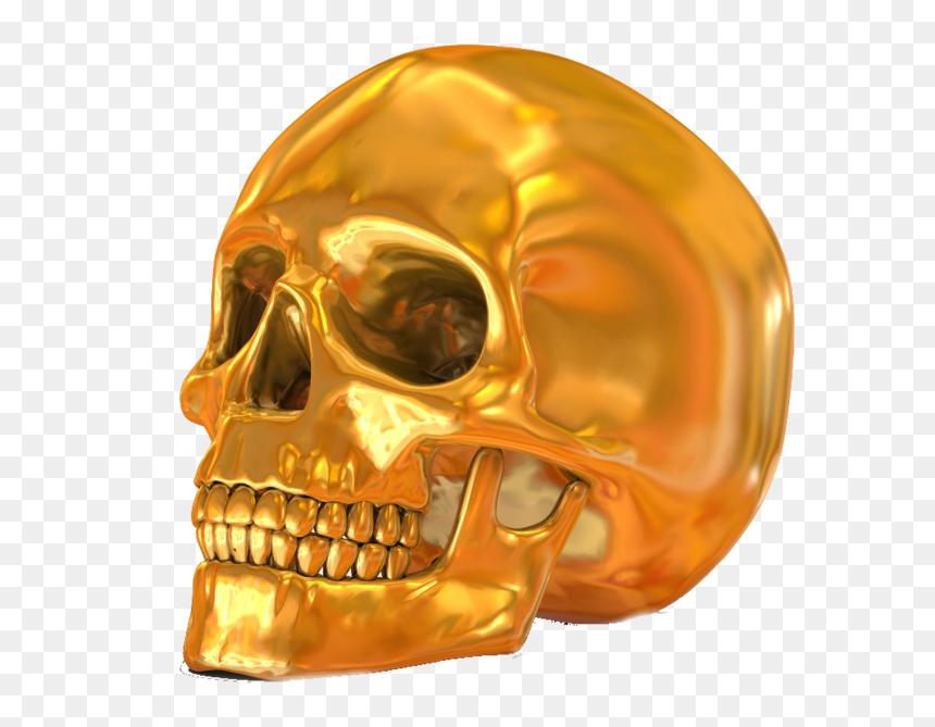 Transparent Gold Skull Png - หัว กะโหลก สี ทอง, Png Download