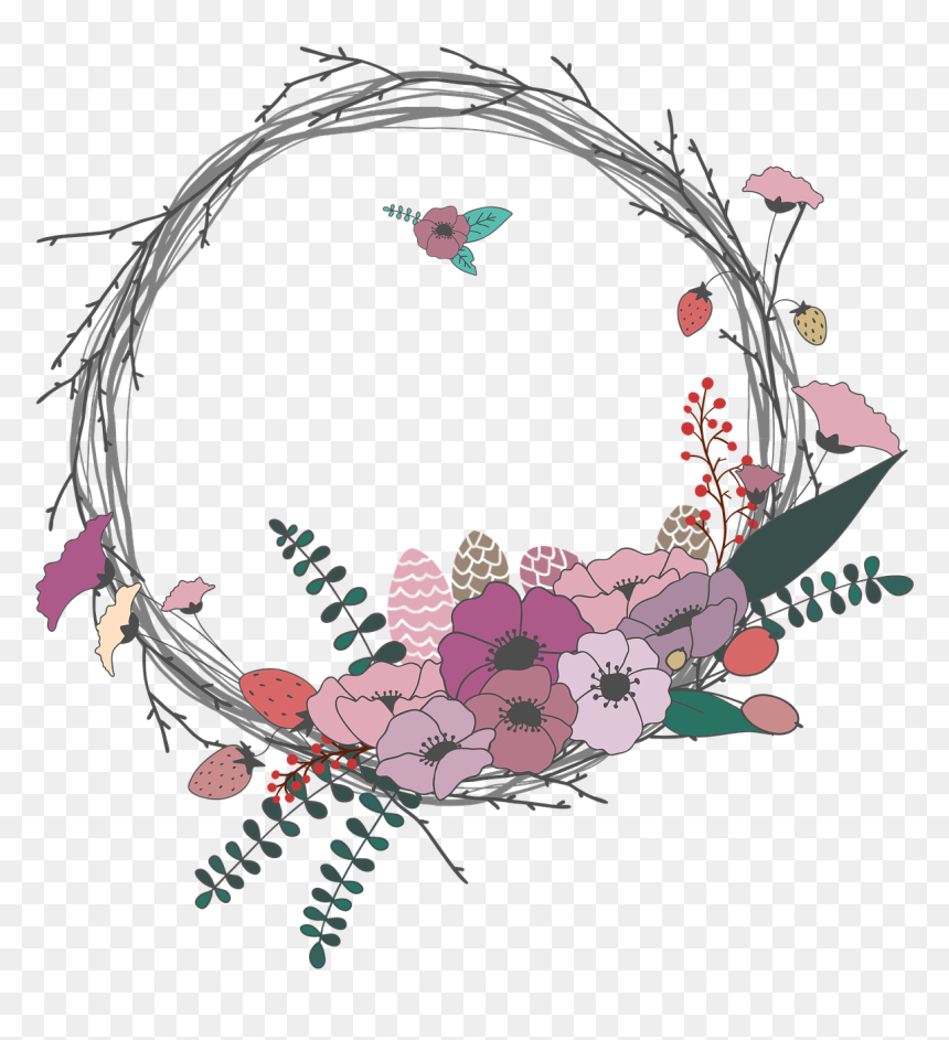 Spring Flower Wreath Clipart - Lingkaran Bunga Png, Transparent Png