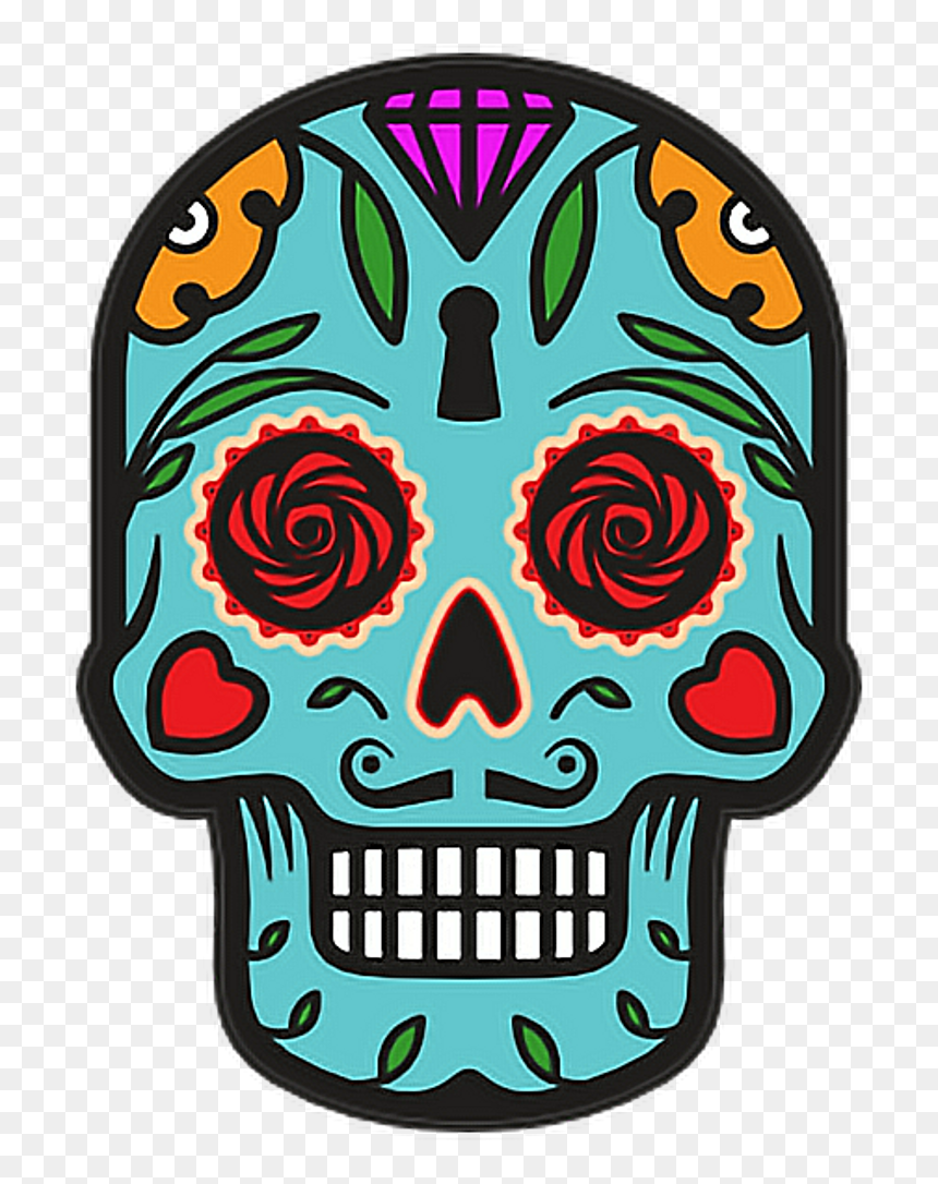 Catrina Skull Halloween Diademuertos Blue Flowers Happy - Day Of The Dead Skull Clipart, HD Png Download