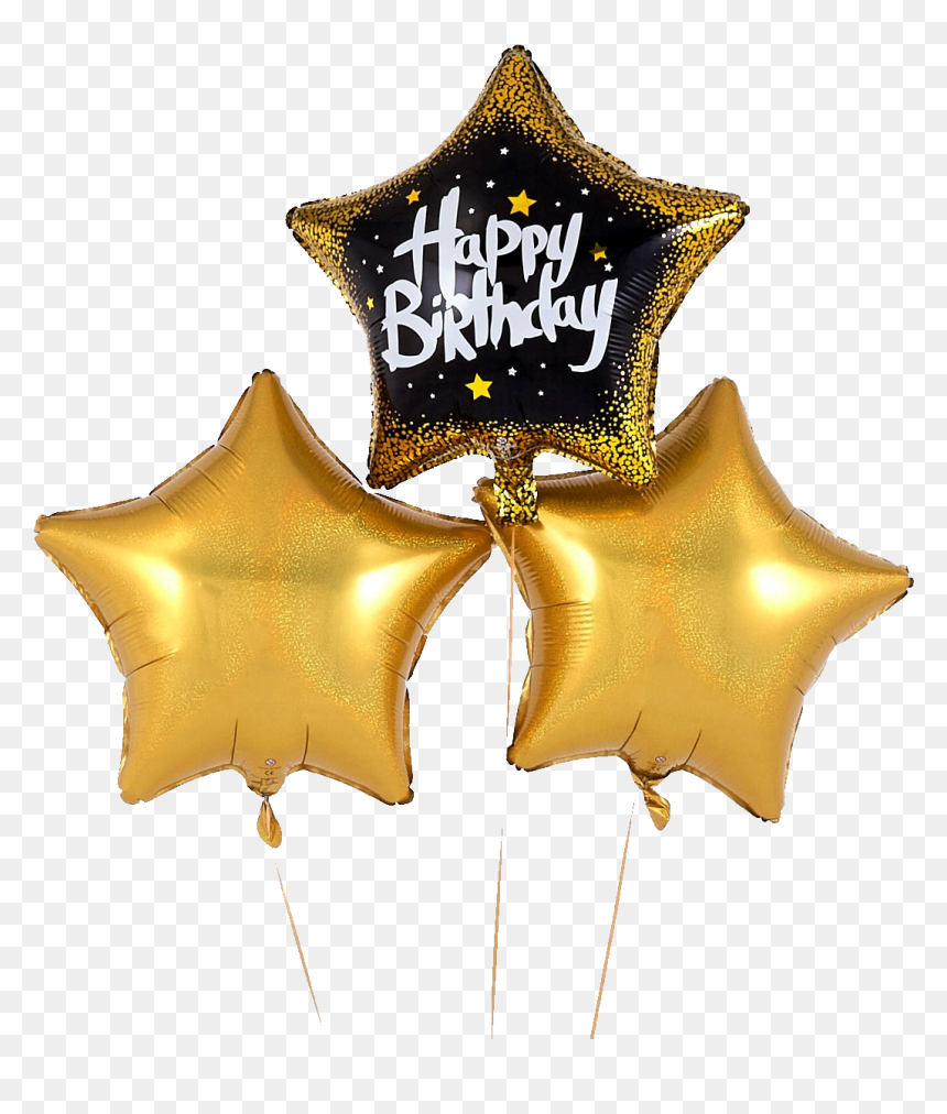 Black And Gold Birthday Balloons, HD Png Download