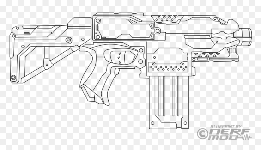 Nerf Gun Coloring Pages, HD Png Download - 1131x707 PNG - DLF.PT