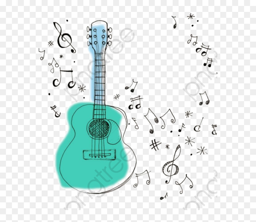 Music Notes Clipart Guitar - Guitar With Music Notes Clipart, HD Png Download