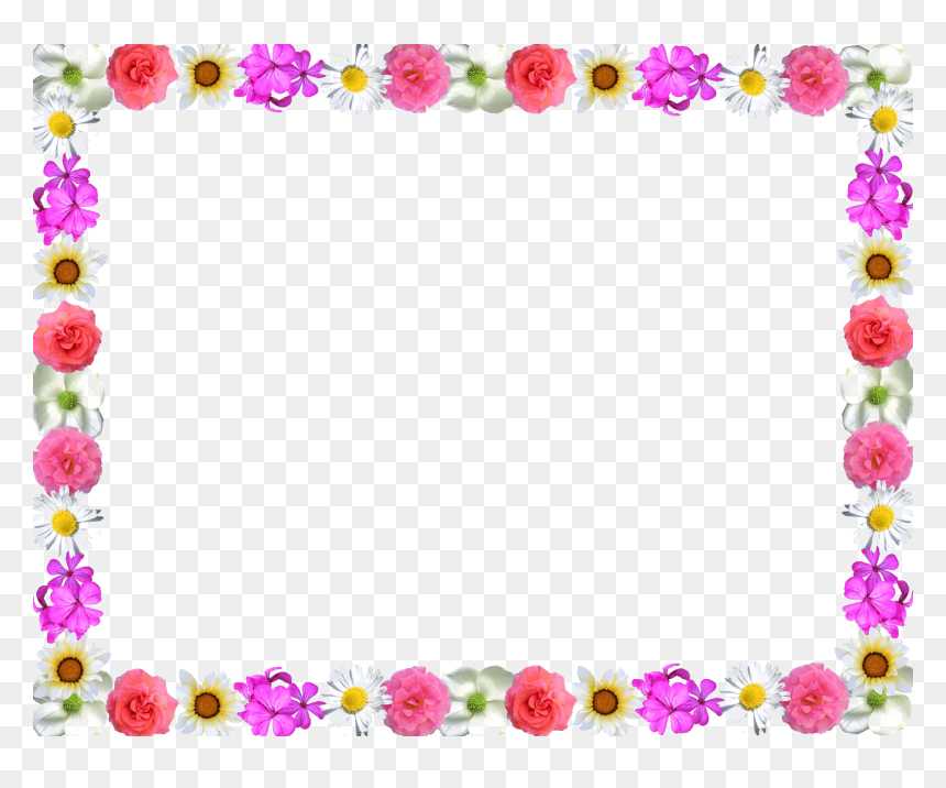 Colorful Flowers Borders Design, HD Png Download