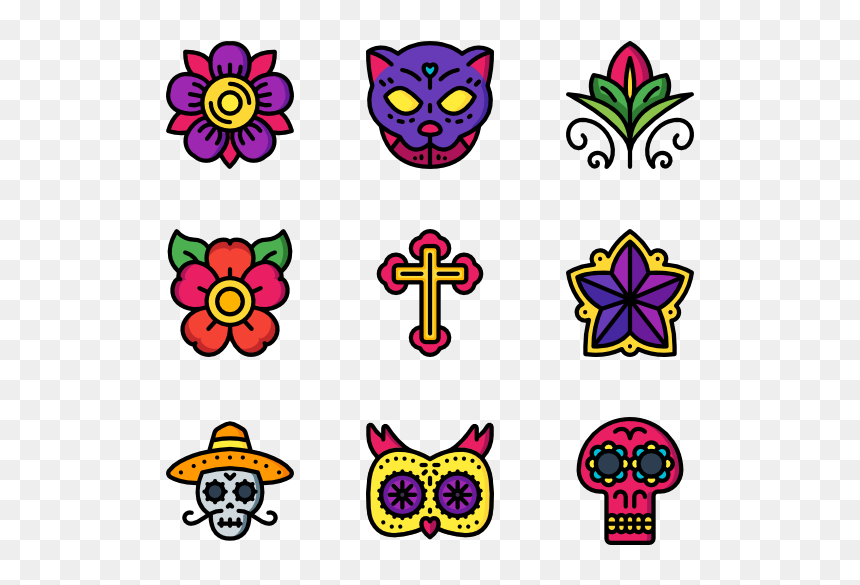 Clipart Day Of The Dead Flowers, HD Png Download