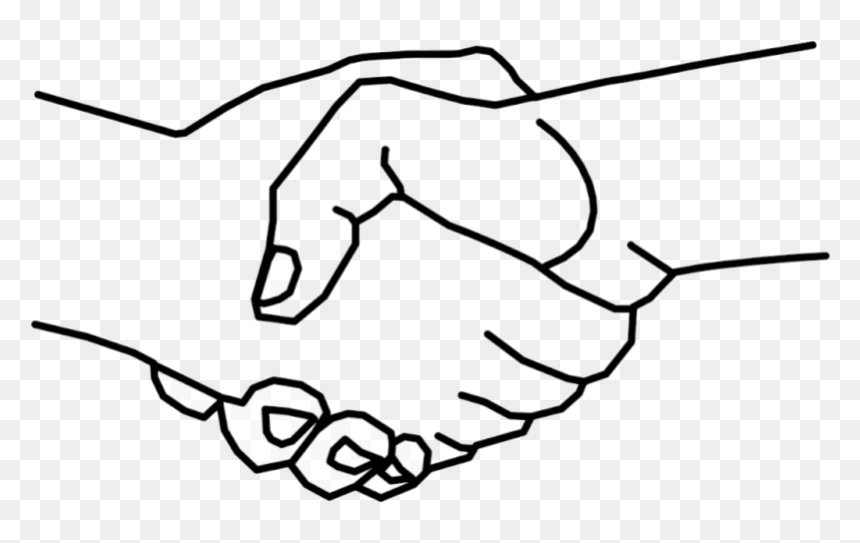 Hand Logo Clipart Shake Hands Shaking Drawing Free - Shaking Hands Drawing Easy, HD Png Download