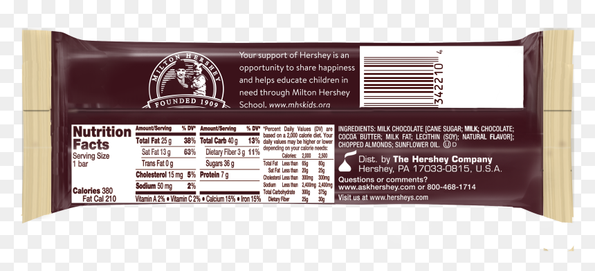 Hershey Almond Bar Nutrition Facts, HD