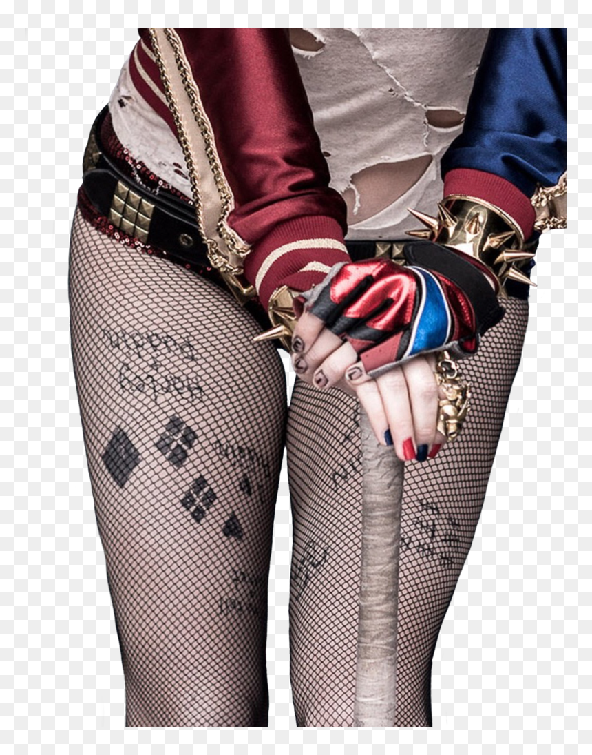 Harley Quinn Tattoos On Her Legs Hd Png Download 787x1016 Png Dlf Pt