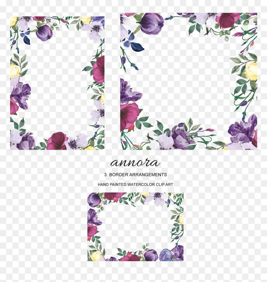 Violet Floral Border Png Download Image - Purple Floral Painting Border, Transparent Png