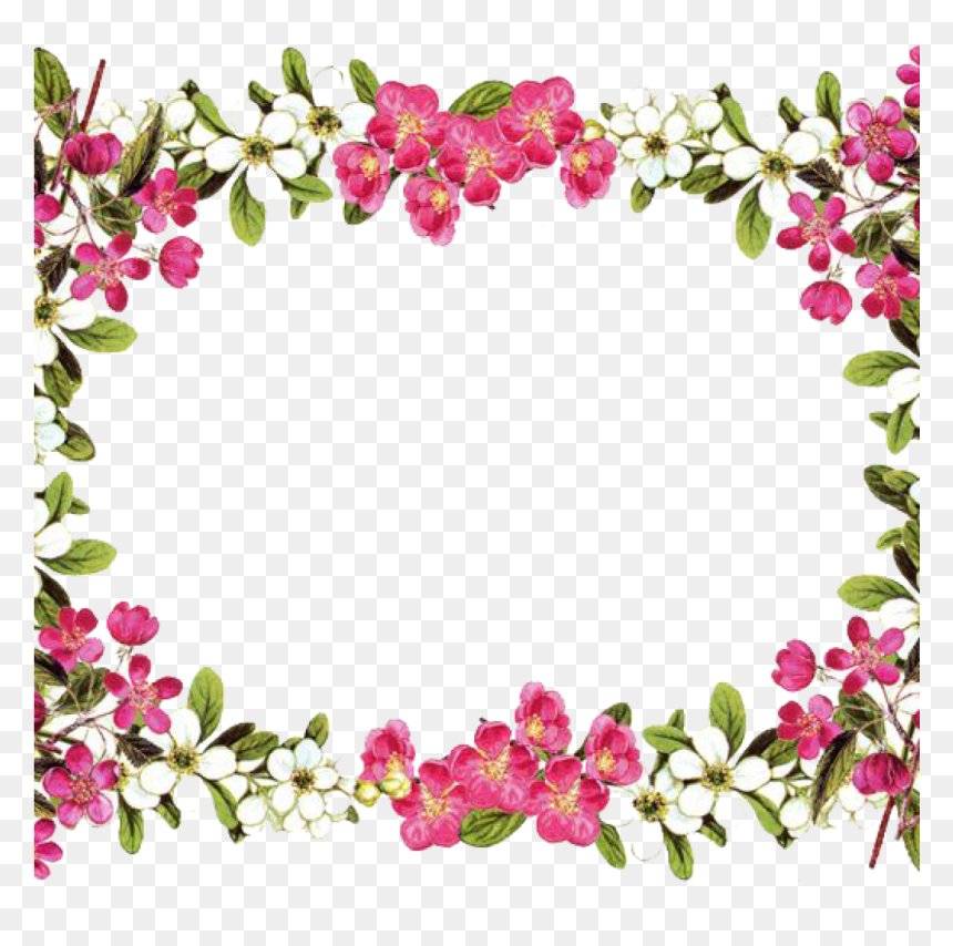 Flower Border Png Animal Clipart Hatenylo - Flower Borders And Frames, Transparent Png