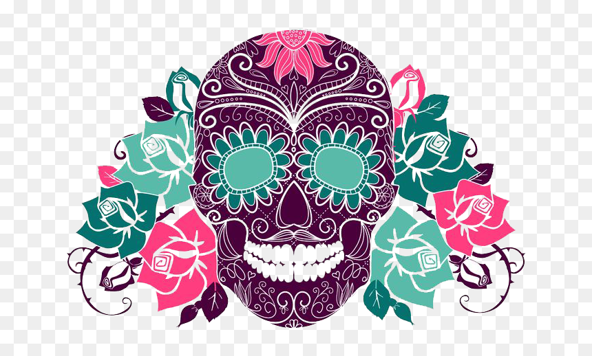 Skull Colorful Day Of The Dead, HD Png Download