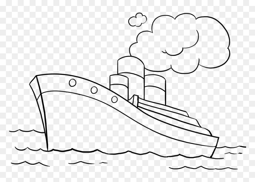 Easy Drawing Guides Twitter Learn How To Draw A Ship - Water Transport Images For Drawing, HD Png Download