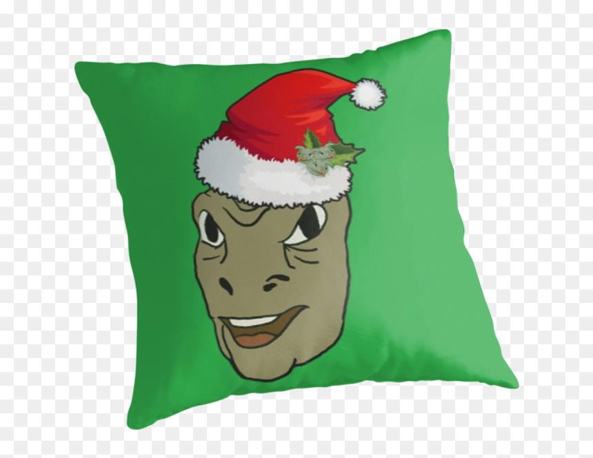 Green,cartoon,fictional Character,santa Claus,cushion,throw - Dank Christmas, HD Png Download