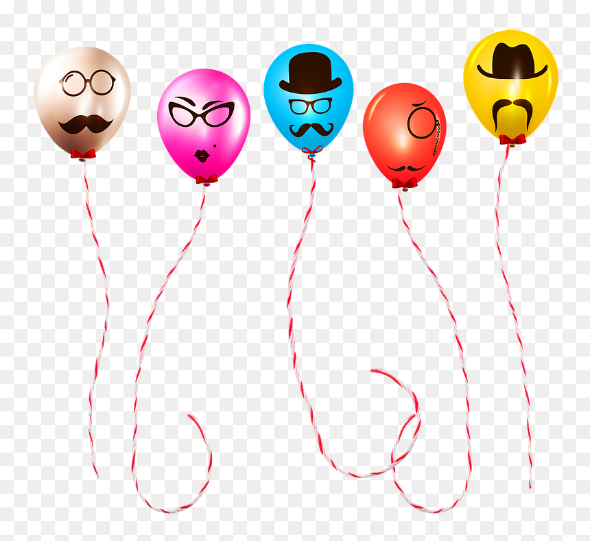 Balloons With Faces Funny Balloons Birthday Balloons - Balloon, HD Png Download