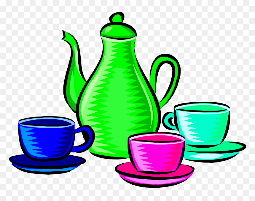 Cup Clipart Green Coffee - Coffee Pot And Cups Clipart, HD ...