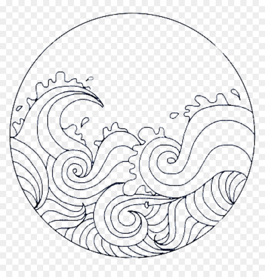 Cute Circle Overlay Remixit Waves Sea Frame Circleframe - Simple Black And White Drawings, HD Png Download
