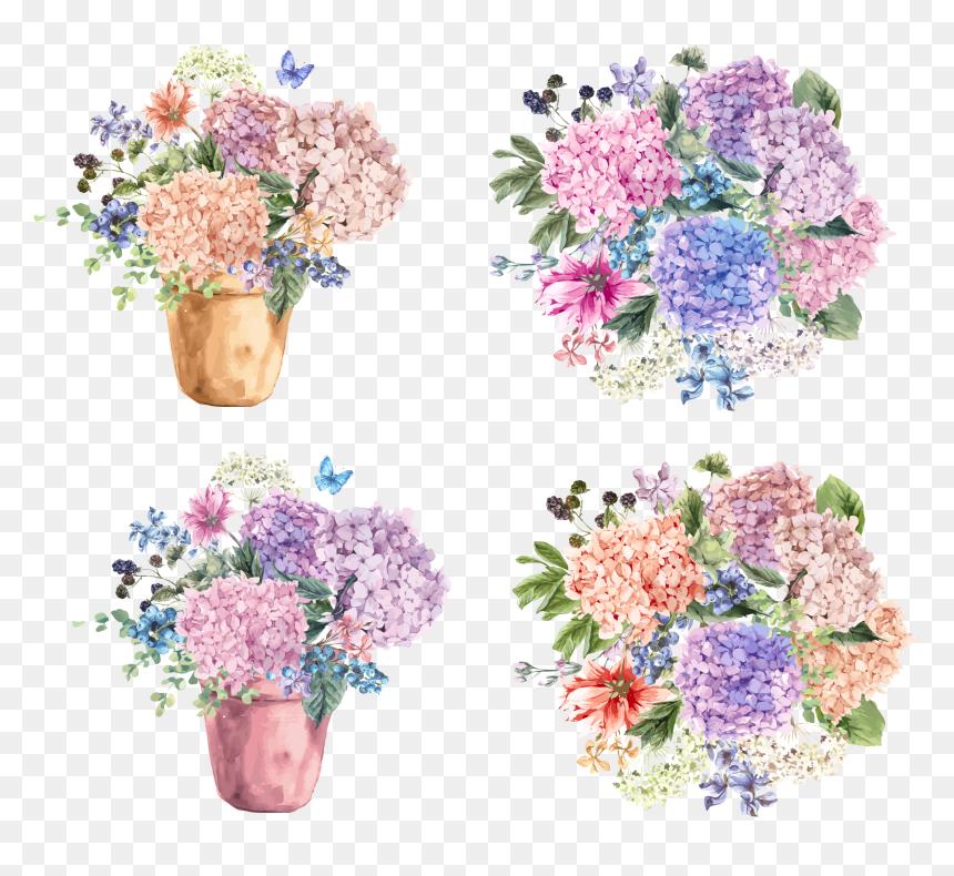 Transparent Potted Flower Clipart - รูป วาด ช่อ ดอกไม้, HD Png Download