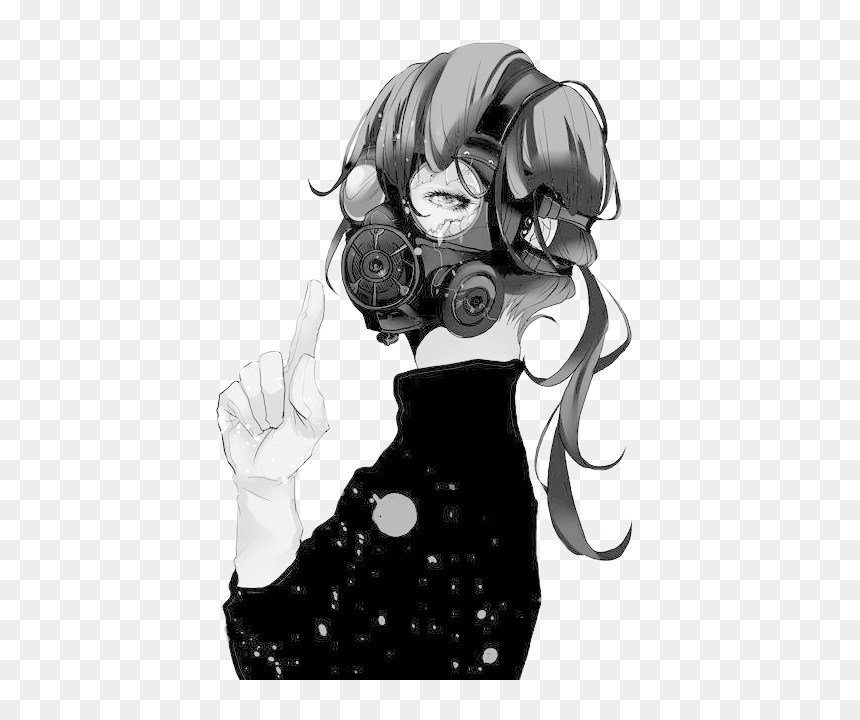 And Hair - Anime Girl With Gas Mask, HD Png Download
