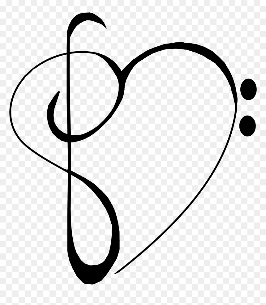 Transparent Treble Cleff Clipart - Music Heart Note Clipart Png, Png Download