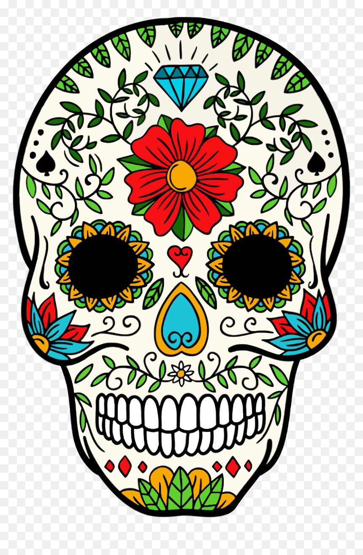 Day Of The Dead Skeleton Skull Clipart , Png Download - Dia De Los Muertos Skull Clipart, Transparent Png