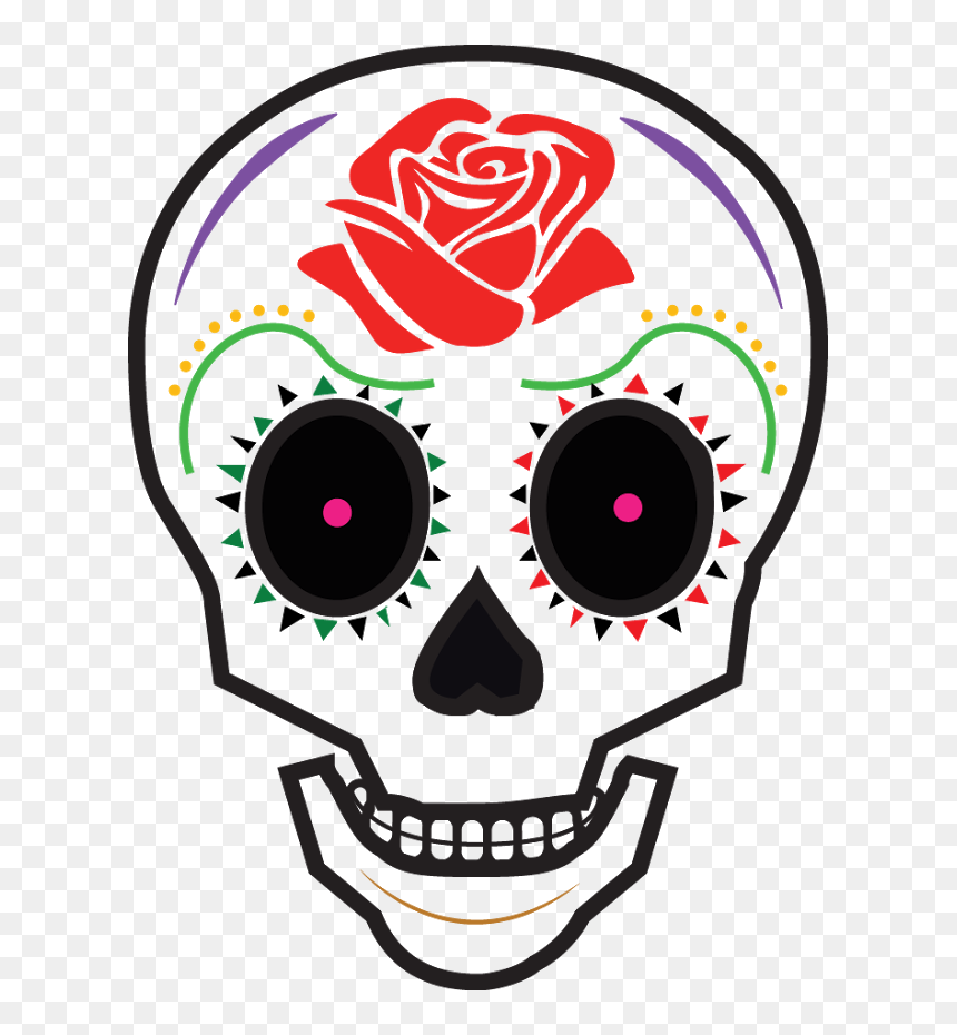 Animated Day Of The Dead Skull Clipart , Png Download - Day Of The Dead Cartoon Skull, Transparent Png