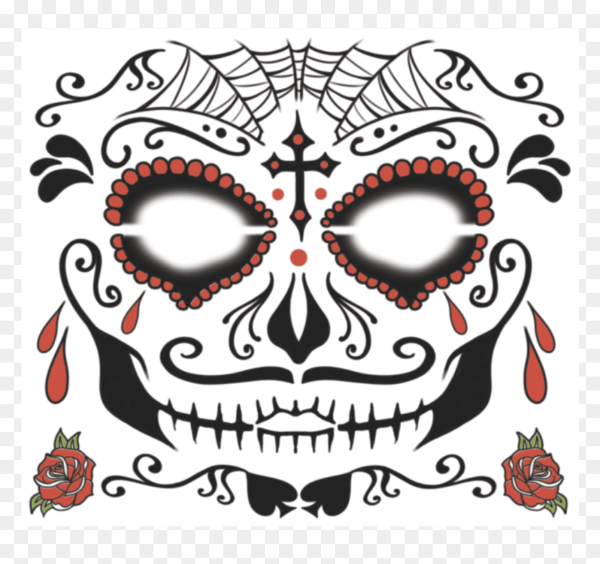 Face Sugarman Temporarytattoo - Male Skull Day Of The Dead, HD Png Download