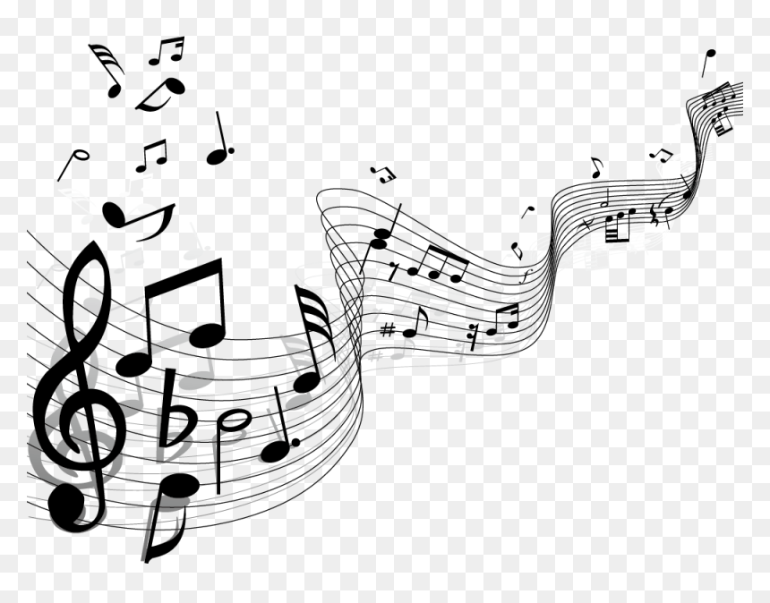 Musical Note Staff Clip Art - Music Notes Background Png, Transparent Png