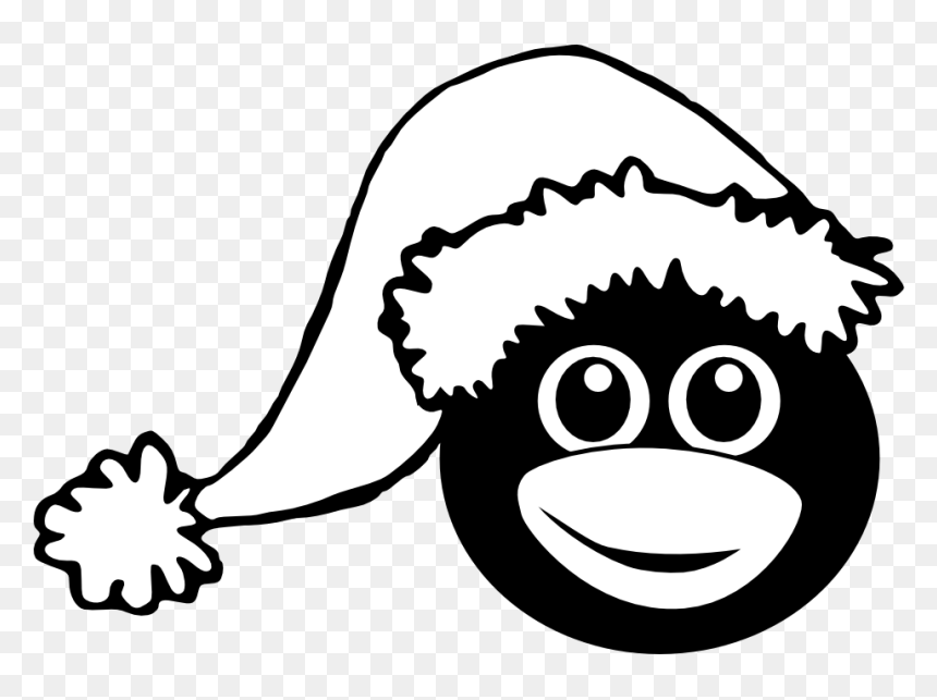 Black And White Santa Hat Clip Art, HD Png Download