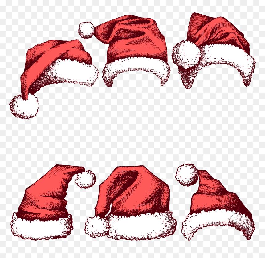 Santa Claus Christmas Hat New Year - Transparent Background Drawn Santa Hat, HD Png Download
