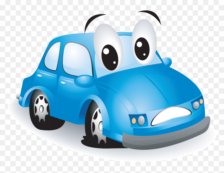 Motor Vehicle,cartoon,clip Of Transport,animated Cartoon,model - Car With Flat Tire, HD Png Download