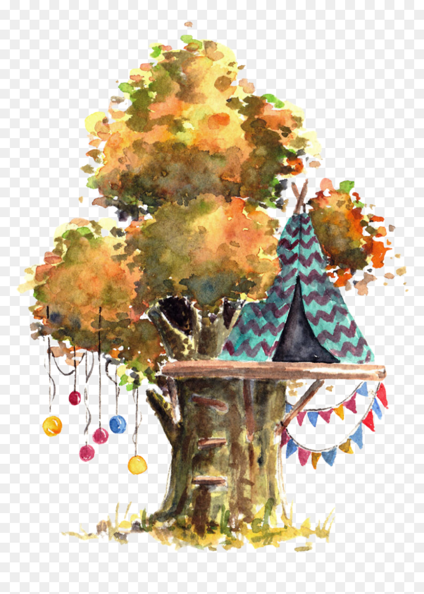 #watercolor #treehouse #teepee #balloons #tree #leaves - Watercolor House Drawing Tree, HD Png Download