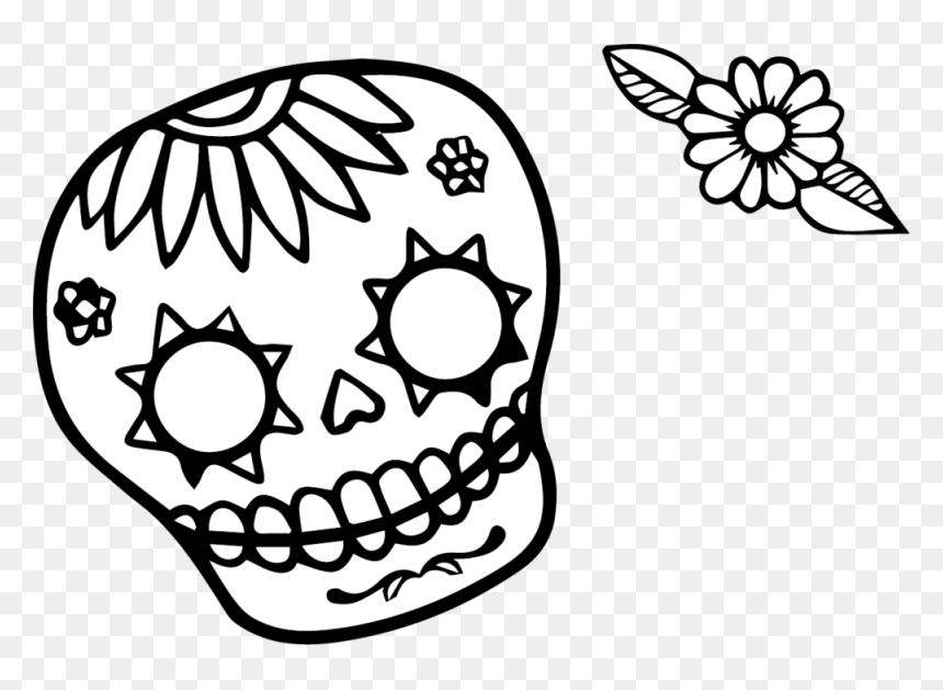 Sugar Skull with Flowers coloring page | Free Printable Coloring Pages | 629x860