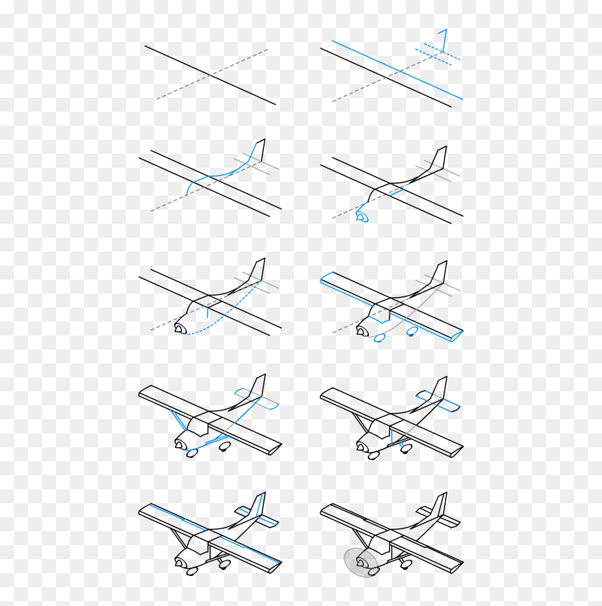 Draw A Single Engine Airplane - Easy Drawing How To Draw A Plane, HD Png Download