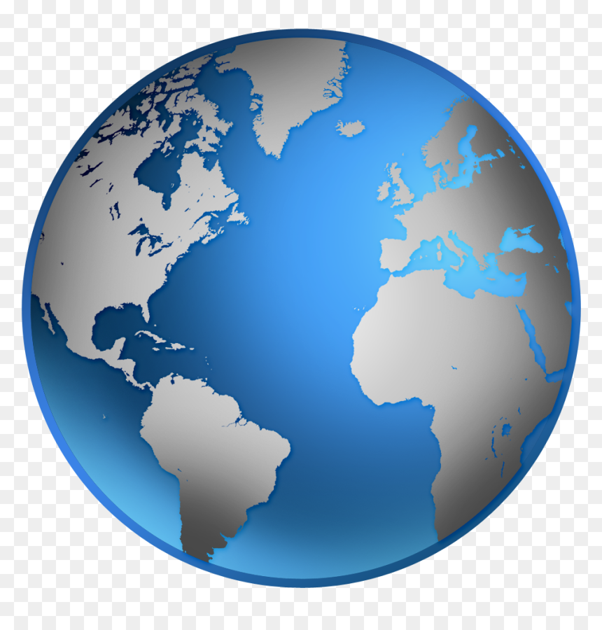 Silver And Blue Globe, HD Png Download