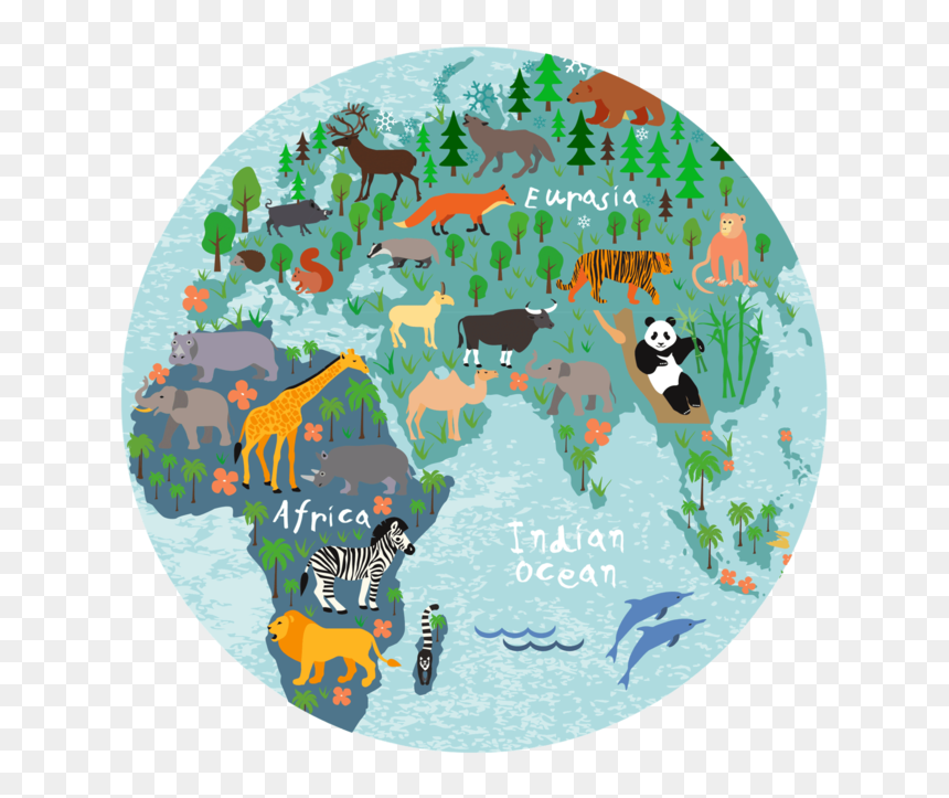 """World Map Round Coaster """"  Class= - Map Of The World Dark Blue, HD Png Download"""