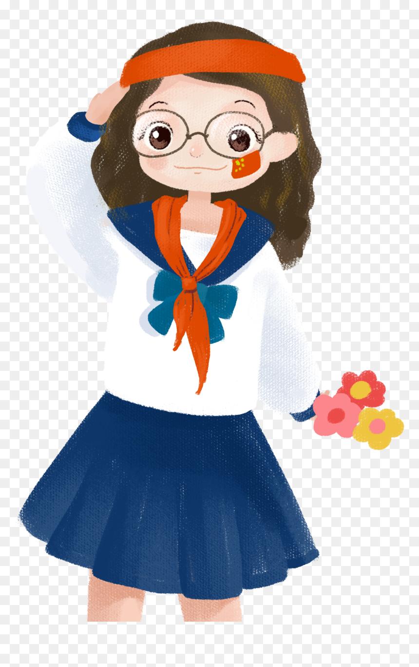 Cartoon Cute Girl Character Png And Psd - นักเรียน หญิง การ์ตูน Png, Transparent Png