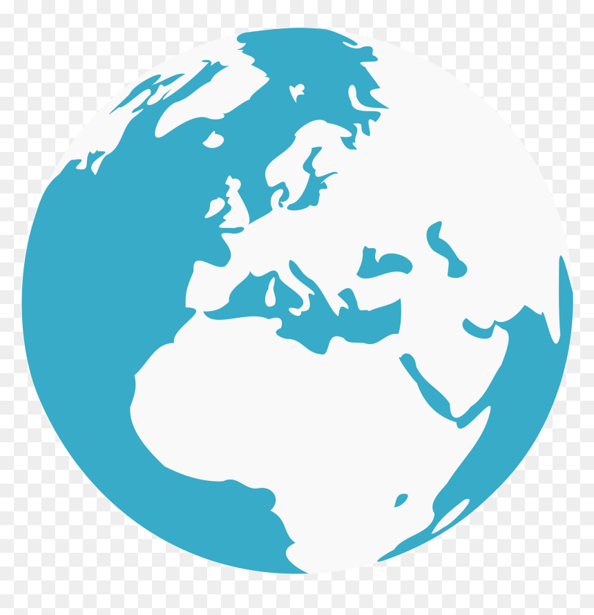 Blue And White Earth Clipart , Png Download - Earth Globe Vector Png, Transparent Png