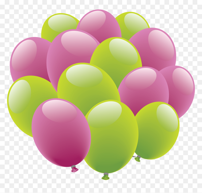 Balloons Png Image - Happy Birthday Pink And Green Balloons, Transparent Png