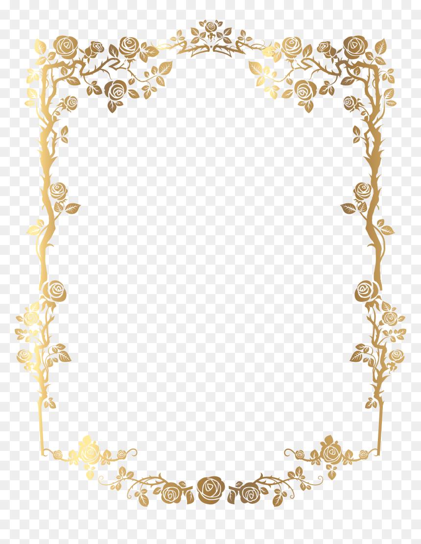 Picture Golden Frame French Rectangular Floral Border - Gold Floral Border Design, HD Png Download